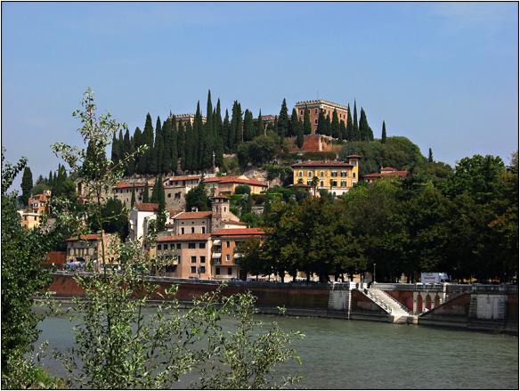 קסטל, טירה, מבצר סן פייטרו, נהר, איטליה, ורונה, Castell San Pietro, Verona, Italy