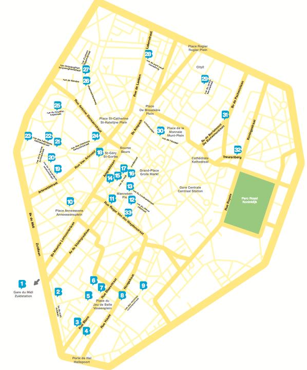 מפה של מסלול הקומיקסים בריסל
